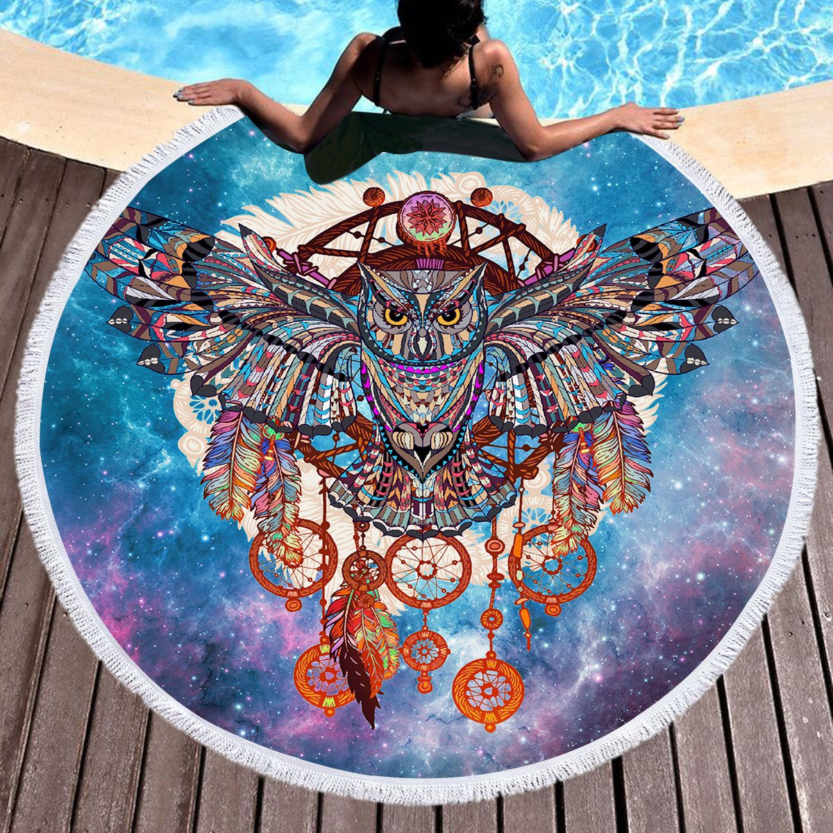 "durable modeling Sleepwish Owl Dreamcatcher Beach Towel Blue and Purple Galaxy Round Beach Towel Blanket Circle Yoga Mat Camping Table Cloths (60"")"
