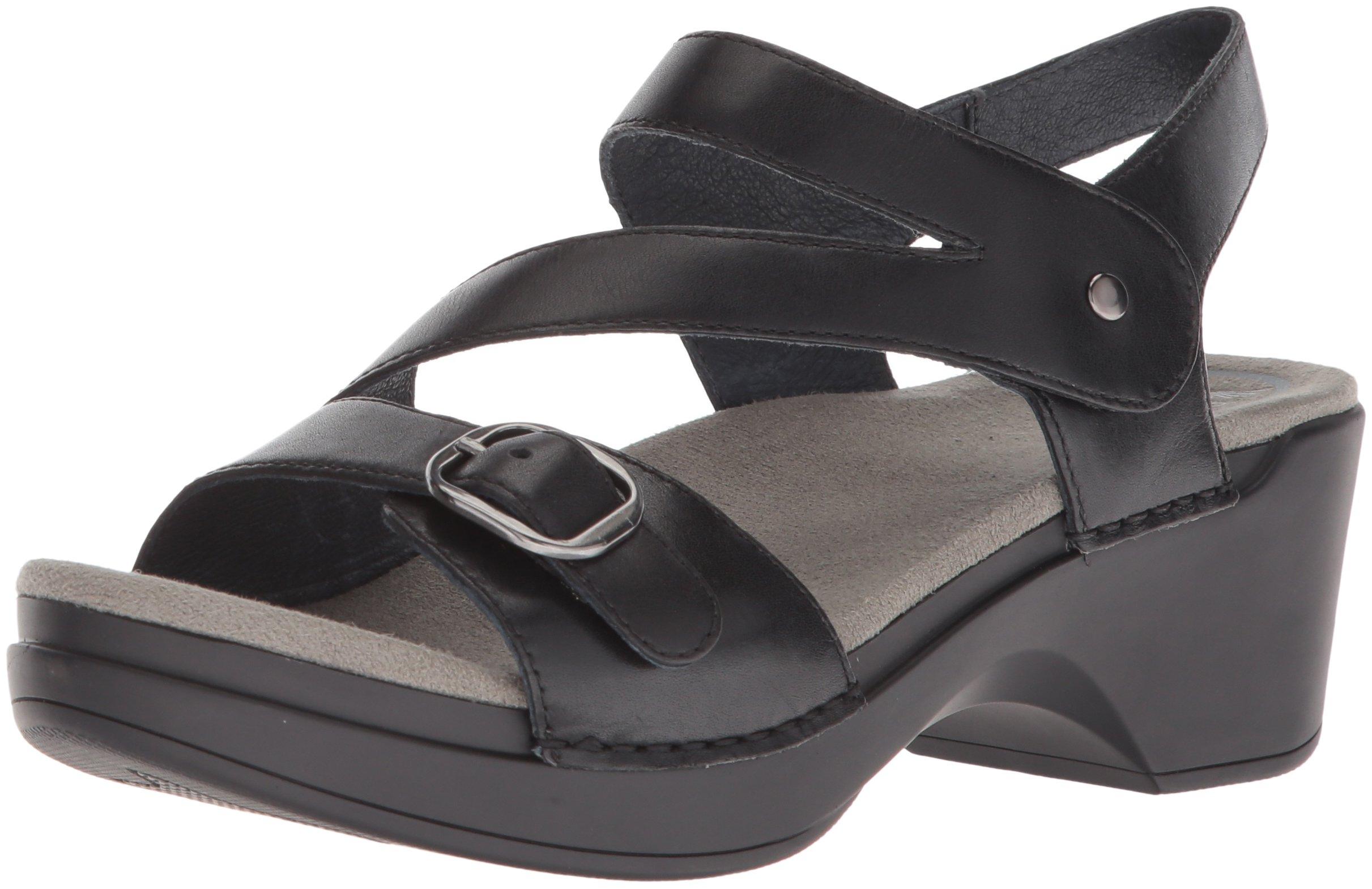 Dansko Women's Shari Flat Sandal, Black Full Grain, 38 M EU (7.5-8 US)