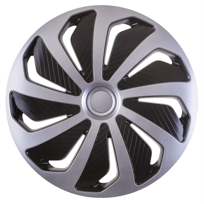 UKB4C 14 4 x Alloy Look Silver /& Black Rush Multi-Spoke Wheel Trims Hub Caps Covers Protectors