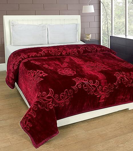 Goyals Luxurious Embossed Korean Mink Single Bed Blanket Heavy - Maroon