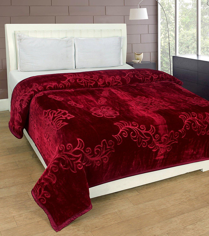SRS Maroon Floral Single Bed Blanket - Blanket Bag