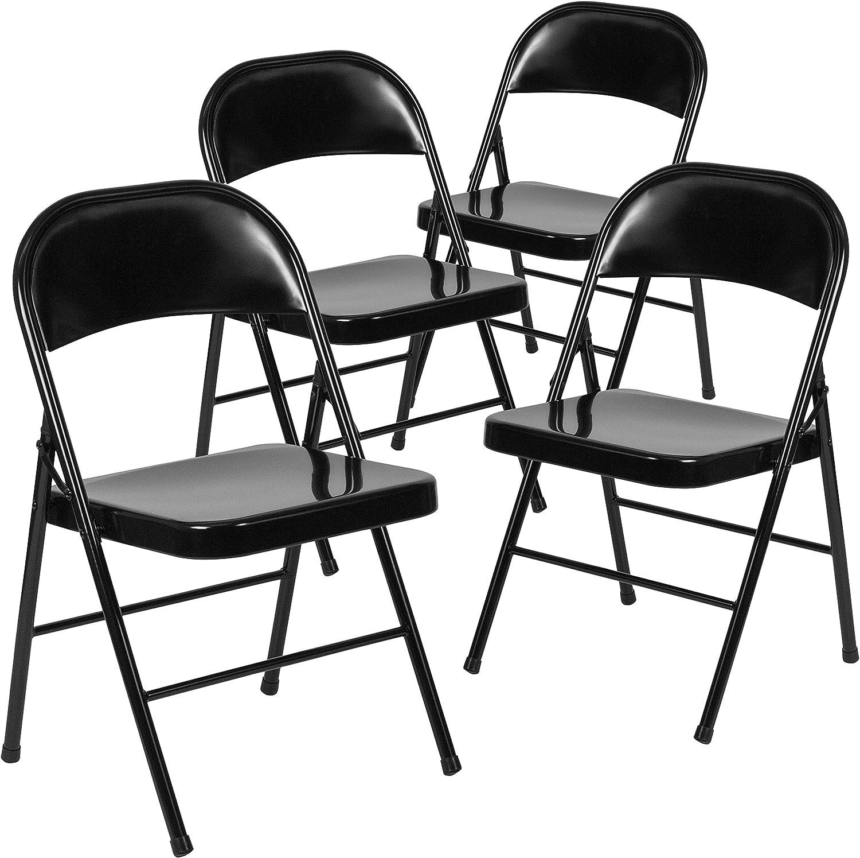 Flash Furniture 4 Pk. HERCULES Series Double Braced Black Metal Folding Chair