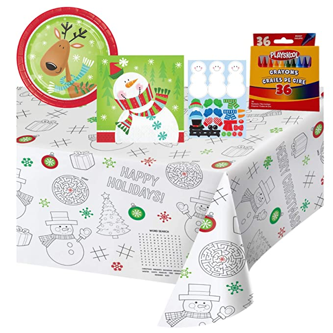Stickers Kids Christmas Table Coloring and Activity Party Supply Pack: Bundle Includes Plates and Paper Activity Table Cover for up to 8 Guests Crayons Napkins