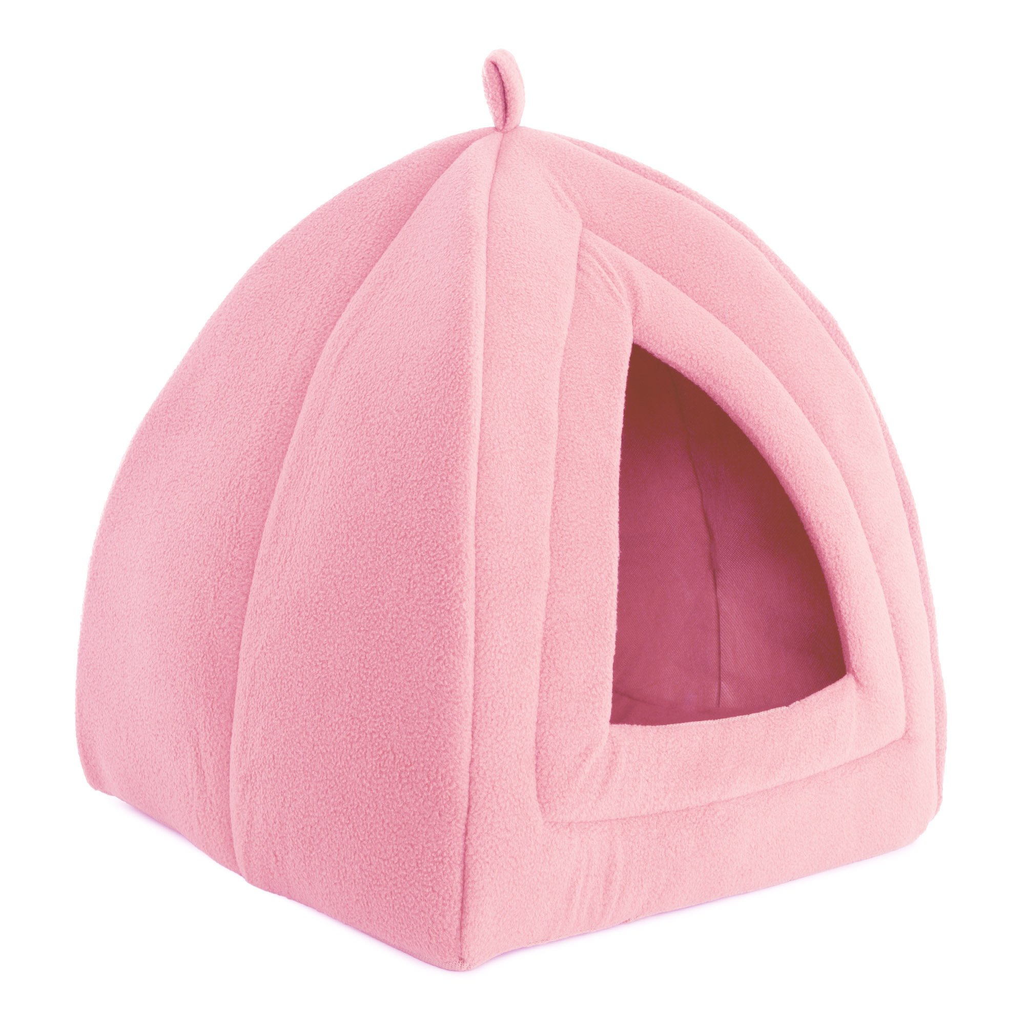 PETMAKER Cat Pet Bed, Igloo- Soft Indoor Enclosed Covered Tent/House Cats, Kittens Small Pets Removable Cushion Pad (Pink)