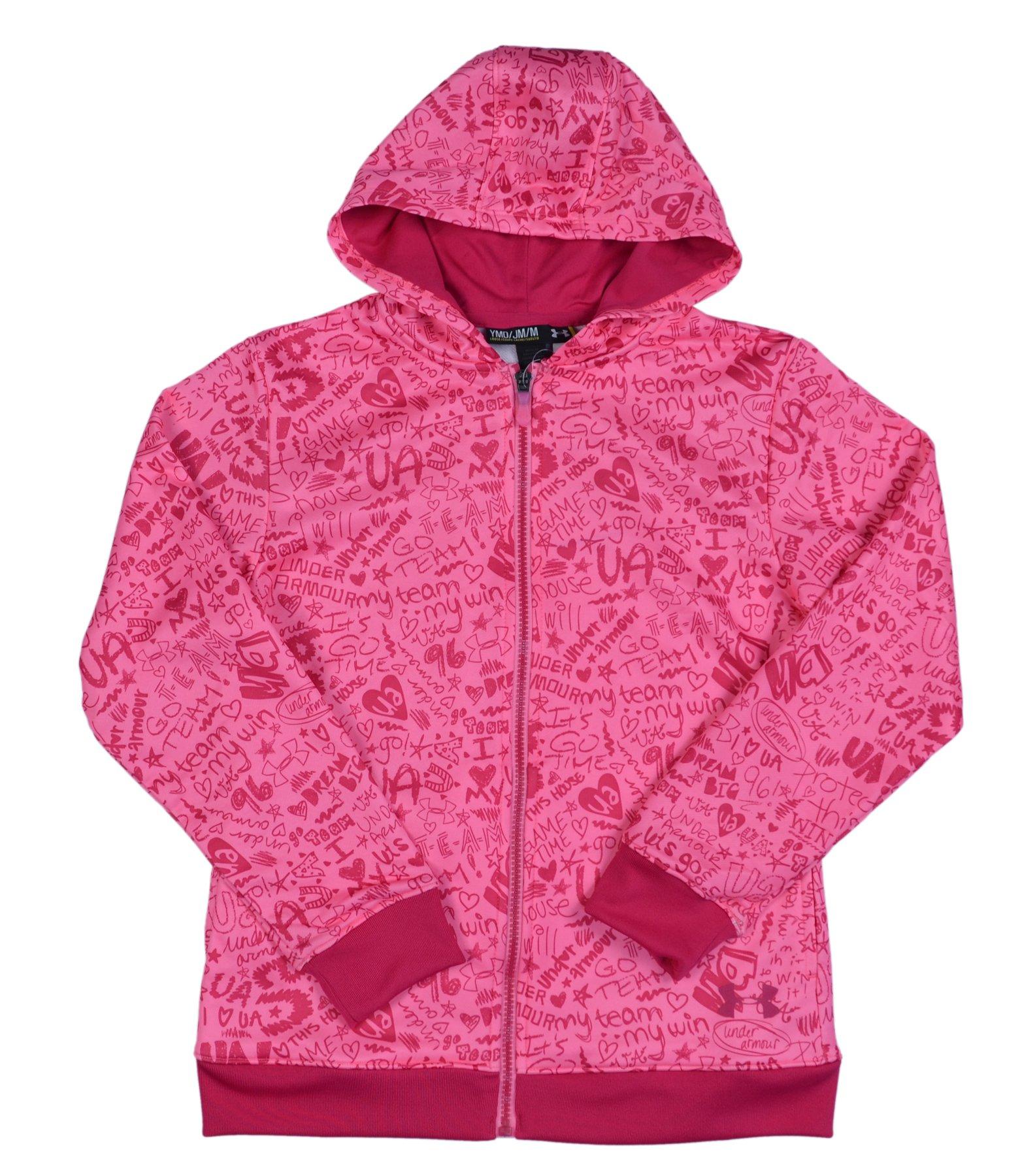 Under Armour Girls' UA Logo Full Zip Graphic Hoody-Pink-Large