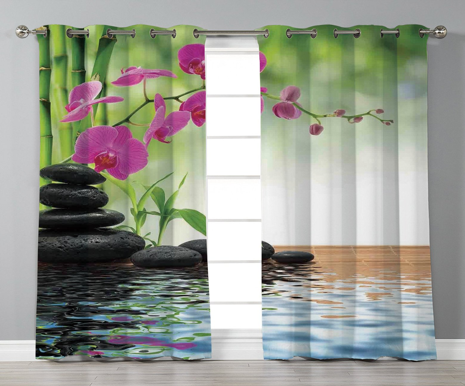 iPrint Satin Grommet Window Curtains,Spa Decor,Composition Bamboo Tree Floor Mat Orchid Stones Wellbeing Greenery,2 Panel Set Window Drapes,for Living Room Bedroom Kitchen Cafe