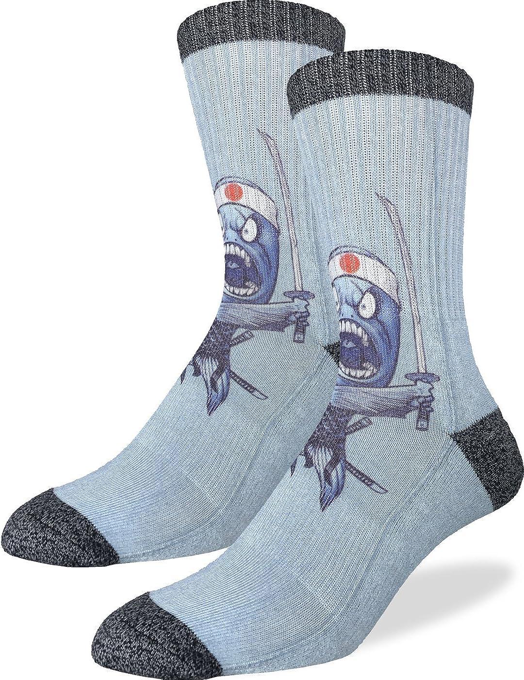 Good Luck Sock Men's Samurai Sushi Fish Crew Socks, Shoe size 8-13, Blue
