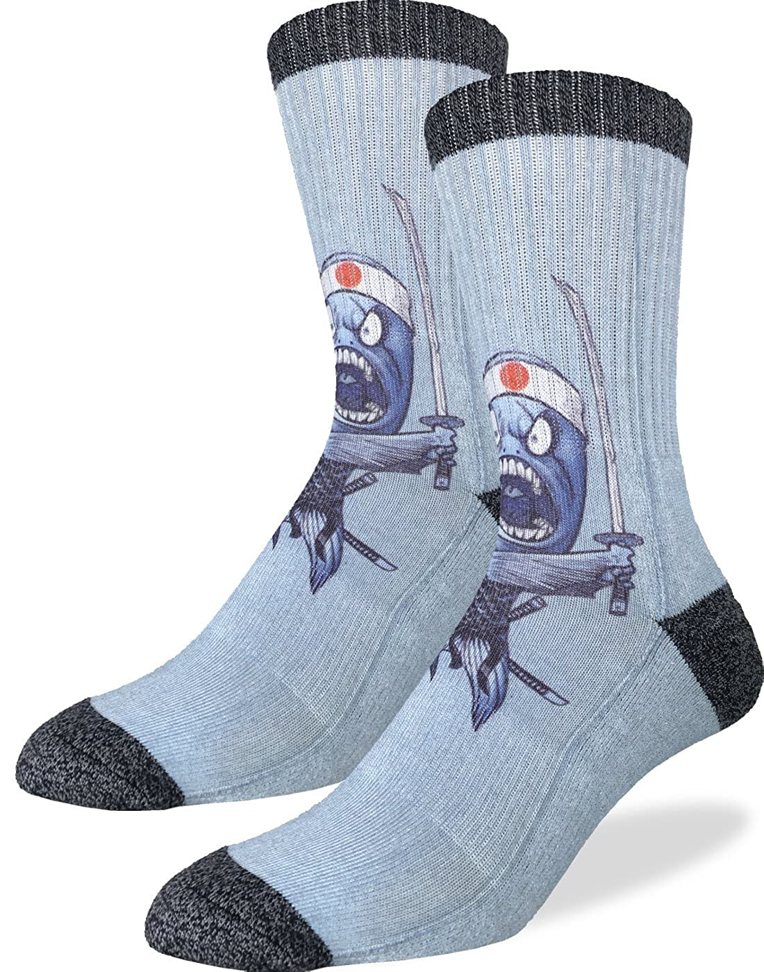 Good Luck Sock Men's Samurai Sushi Fish Socks - blue, Adult Shoe size 8-13 4026