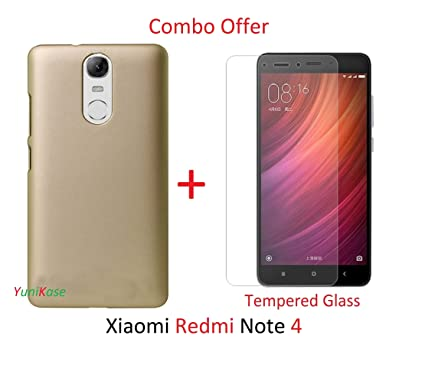 quality design 01292 4be19 Yunikase (COMBO OFFER) for Xiaomi Redmi Note 4 / Redmi Note 4 - - - Hard  Matte Finish Back Cover Case ( Gold ) + Premium Tempered Glass screen ...