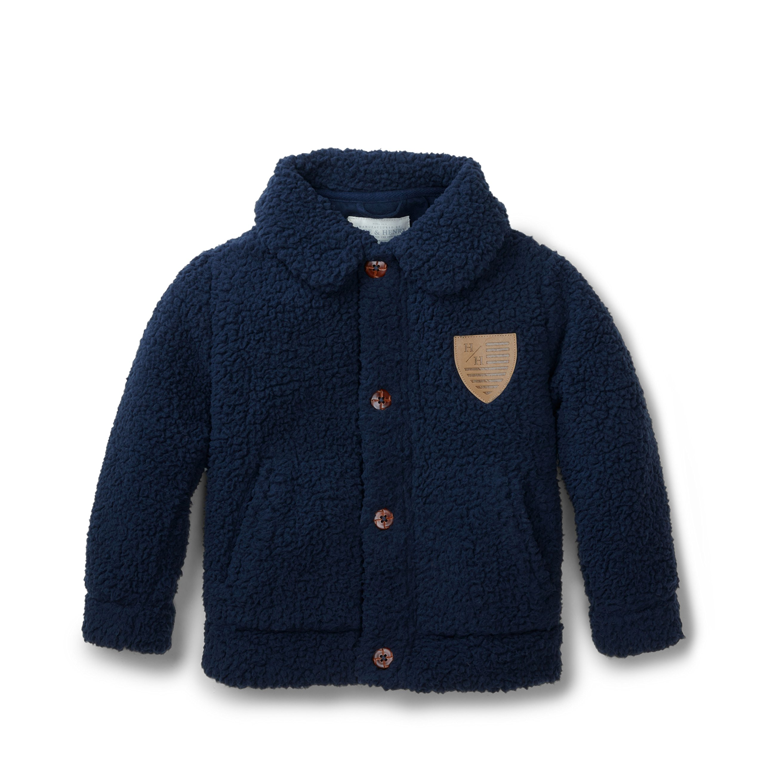 Hope & Henry Boys' Navy Sherpa Bomber Coat Size 12-18 Months