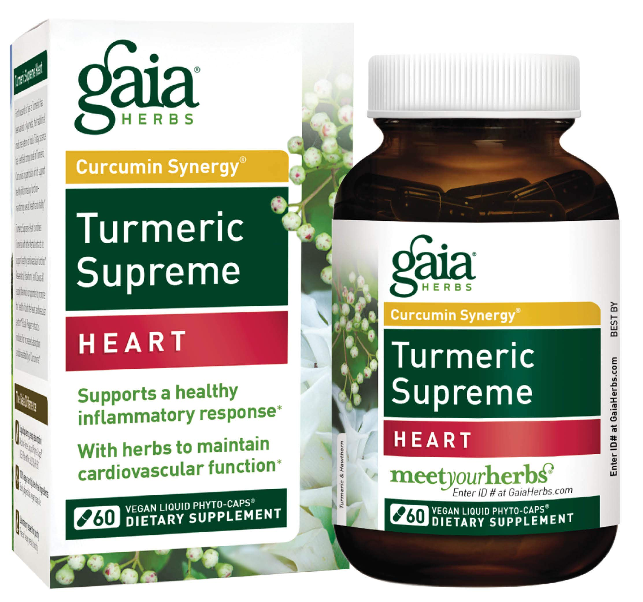 Gaia Herbs Turmeric Supreme Heart, Vegan Liquid Capsules, 60 Count - Turmeric Curcumin Supplement Promotes Heart Health, with Black Pepper, Resveratrol, Quercitin, Organic Hawthorn