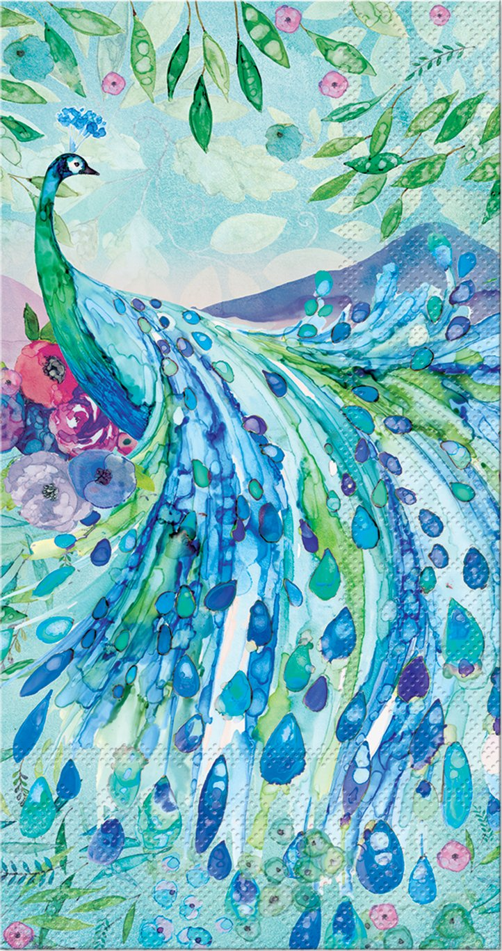 Punch Studio 45914, Pagoda Peacock, Dinner Towel, One Size, 16 count, Multicolor