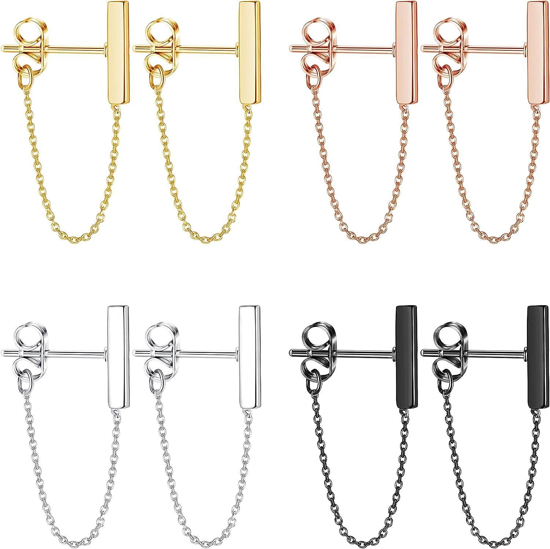 Adramata 4 Pairs Minimalist Bar Earrings with Chain Dangle Earrings for Women Men Simple Tiny Line Chain Earrings Fashion Jewelry Set