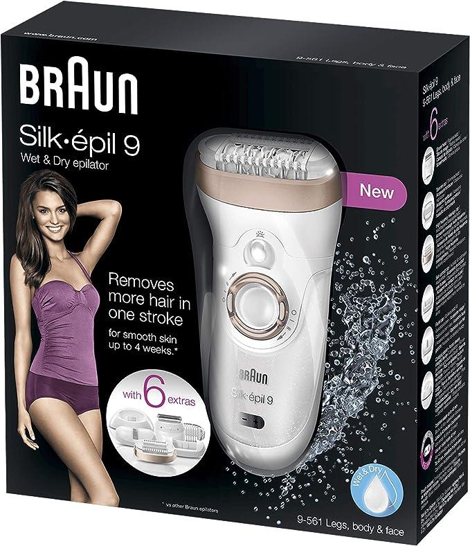 Braun Silk-épil 9 9-561 Depiladora eléctrica inalámbrica con tecnología Wet & Dry, con 6 accesorios incluyendo un cabezal con recortadora y afeitadora, para mujer ...