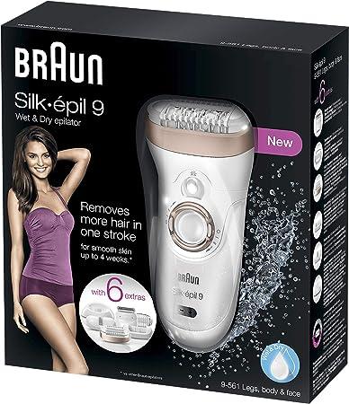 Braun Silk-épil 9 9-561 Depiladora eléctrica inalámbrica con tecnología Wet & Dry, con 6 accesorios incluyendo un cabezal con recortadora y afeitadora, para mujer, Blanco/bronce: Amazon.es: Salud y cuidado personal