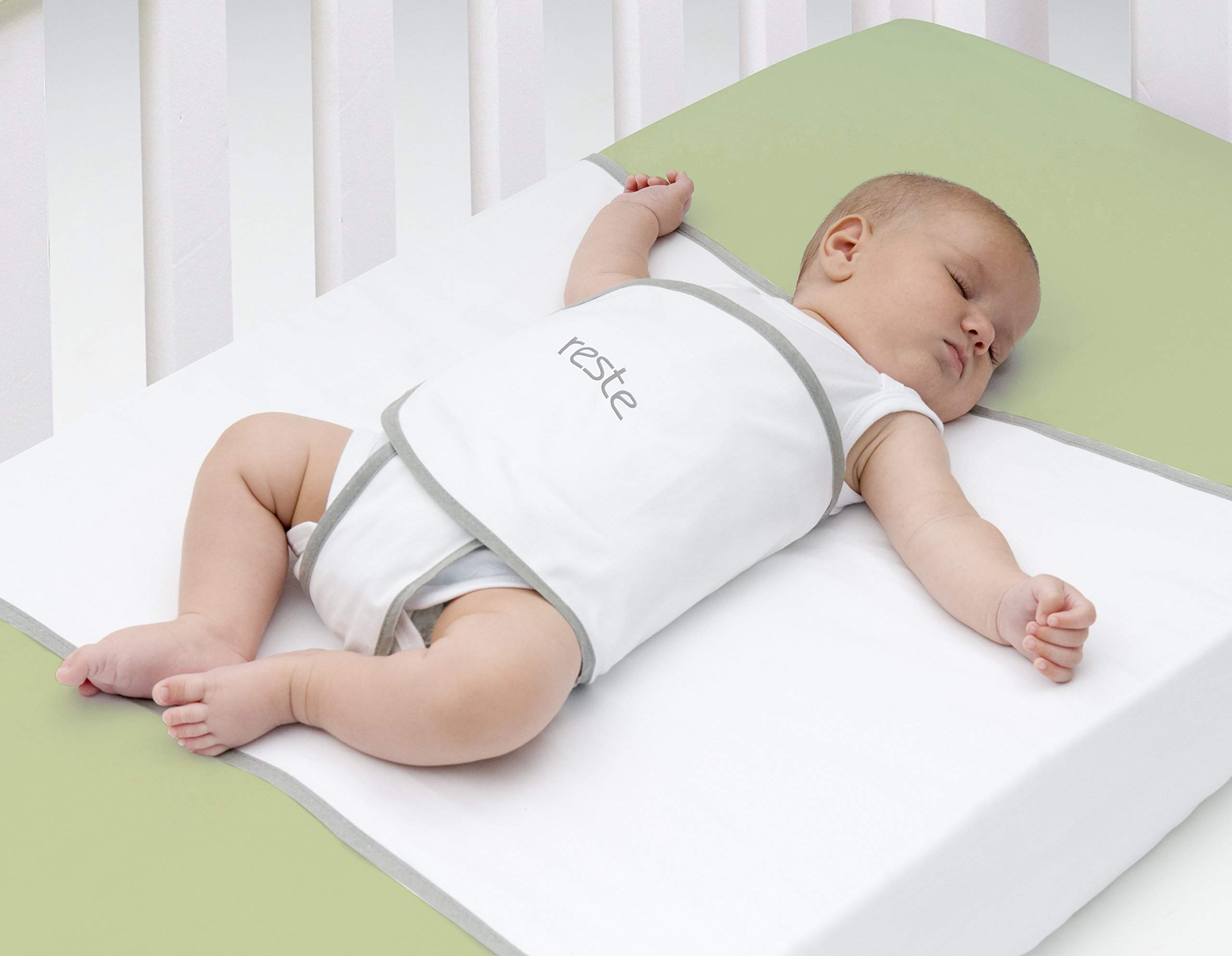 Tranquilo Safe Sleep Swaddle Blanket for Crib Safety for Newborns and Infants - Safe, Anti-Rollover Blanket in White, by Reste by RESTE