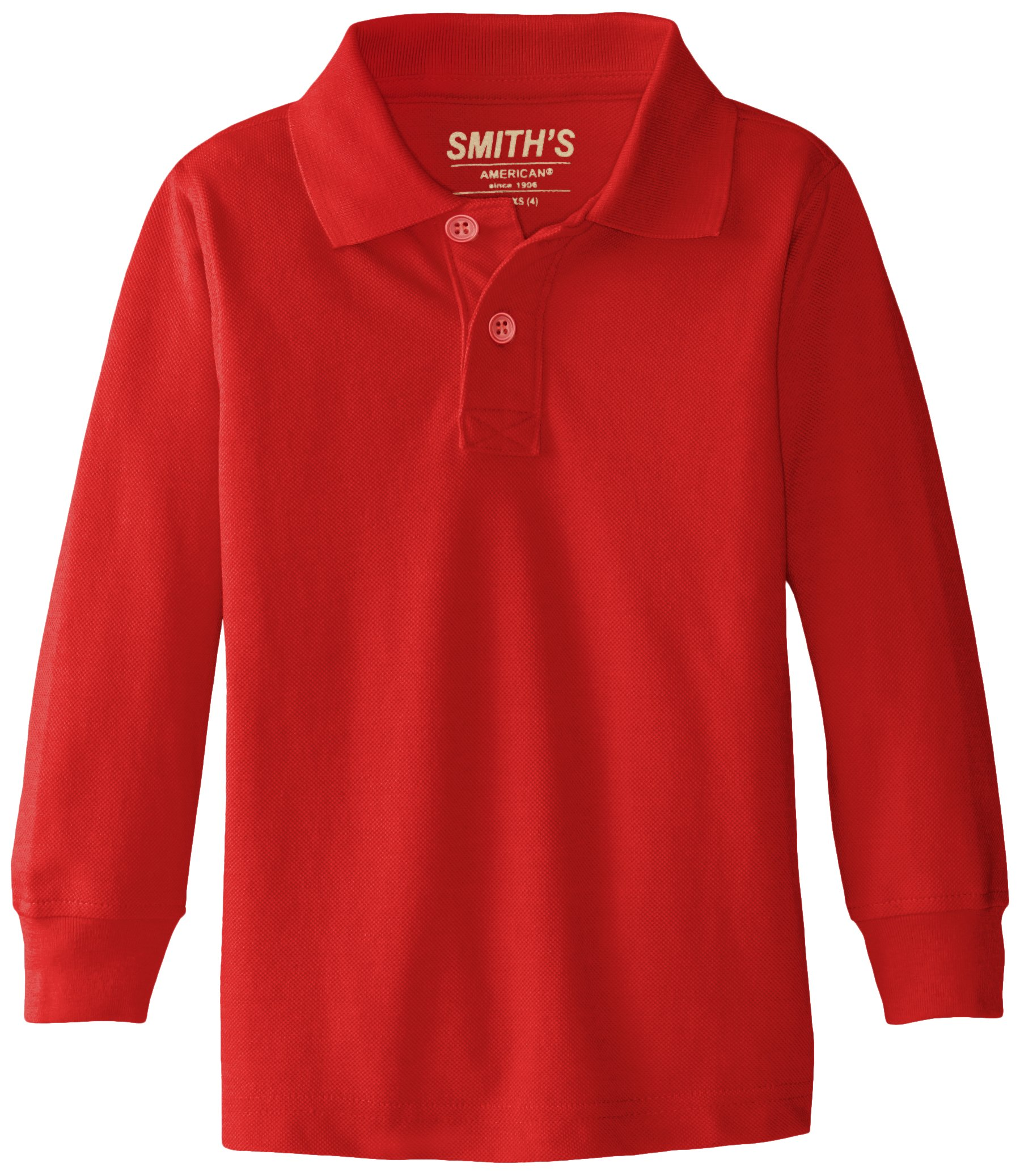 Smith's American Little Boys' Long Sleeve Polo, Red, XX-Small