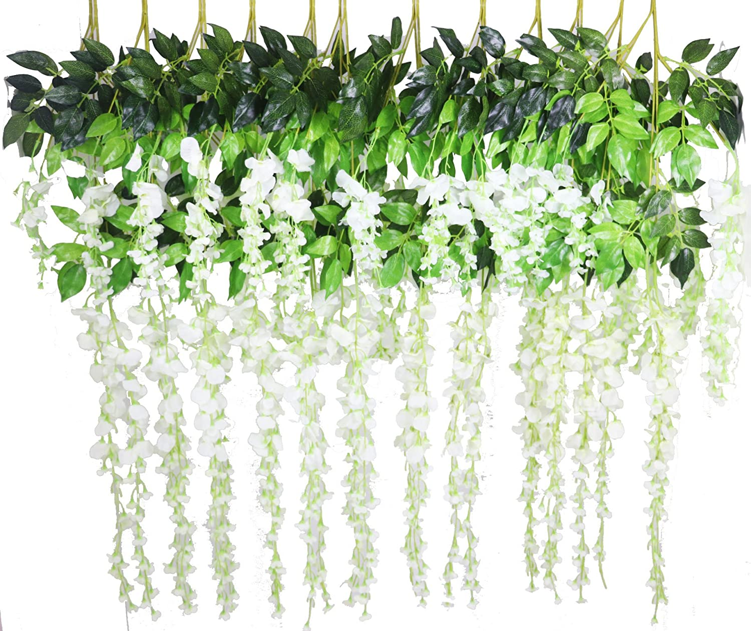 Lannu 12 Pack 3.6 FT Long Artificial Wisteria Flowers Silk Hanging Vine Ratta Flowers String Bush for Home Wedding Party Decor, Cream