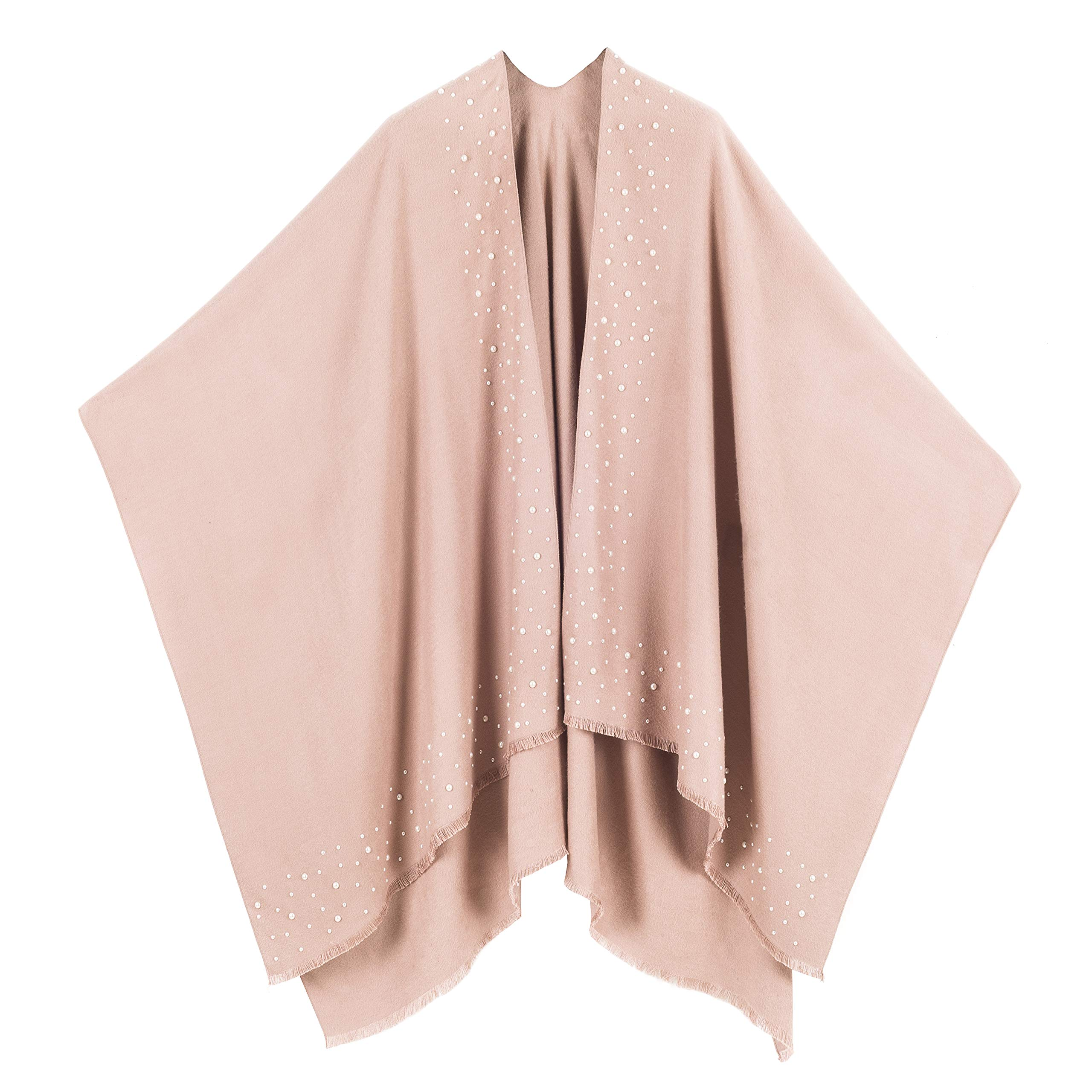 Cardigan Poncho Cape: Women Elegant Beige with Pearl Cardigan Shawl Wrap Sweater Coat for Winter (Beige with Pearl)