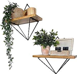 Floating Shelves for Wall Set of 2 | Geometric Triangle Floating Wall Shelf | Room Decor Kitchen & Bathroom Shelf Mounted | Rustic Farmhouse Home Decor Aesthetic