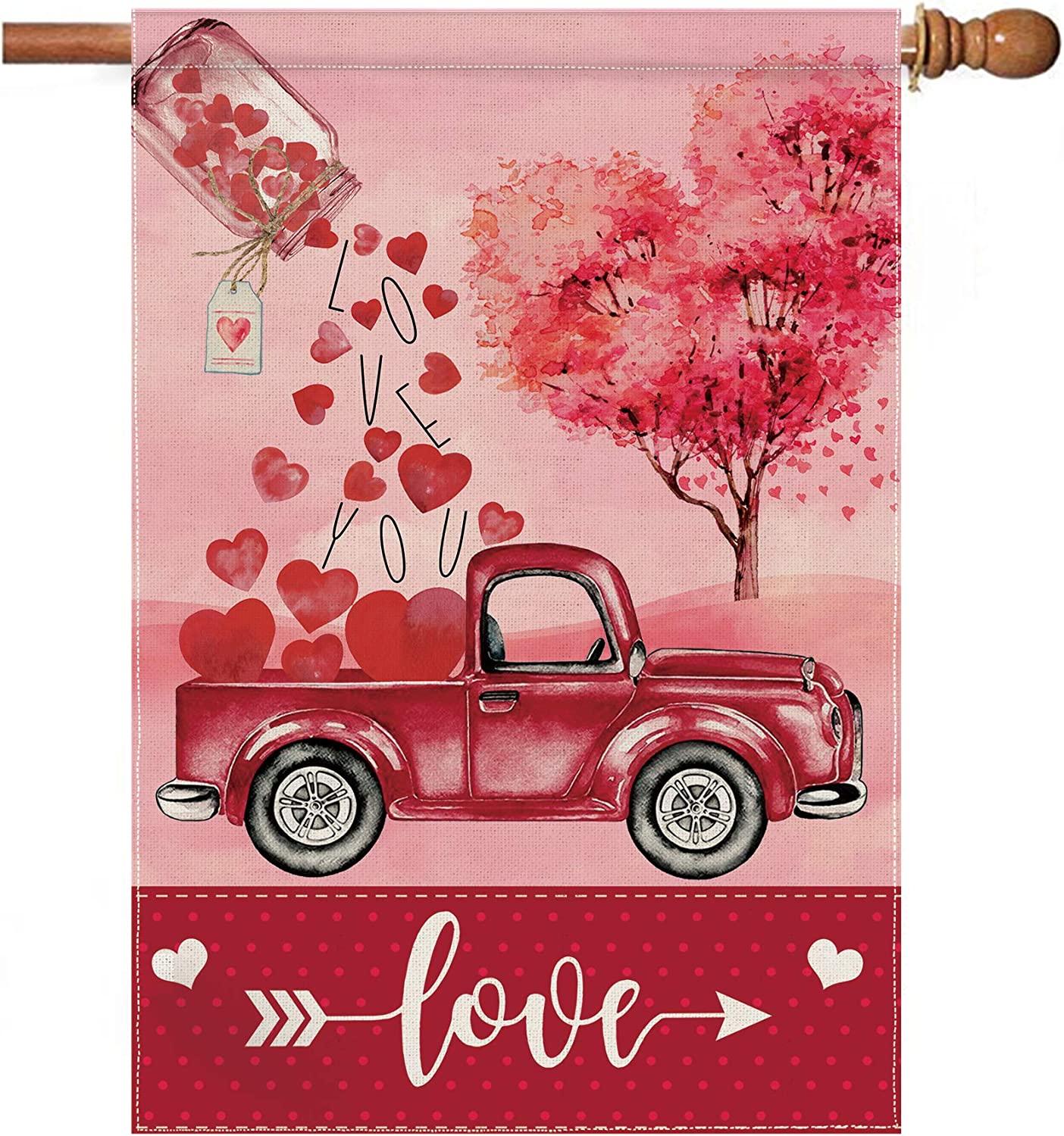 pinata Valentines Day House Flag 28 x 40 Inch, Premium Burlap Double Sided Large Valentine Flag for Yard Outdoor Decor