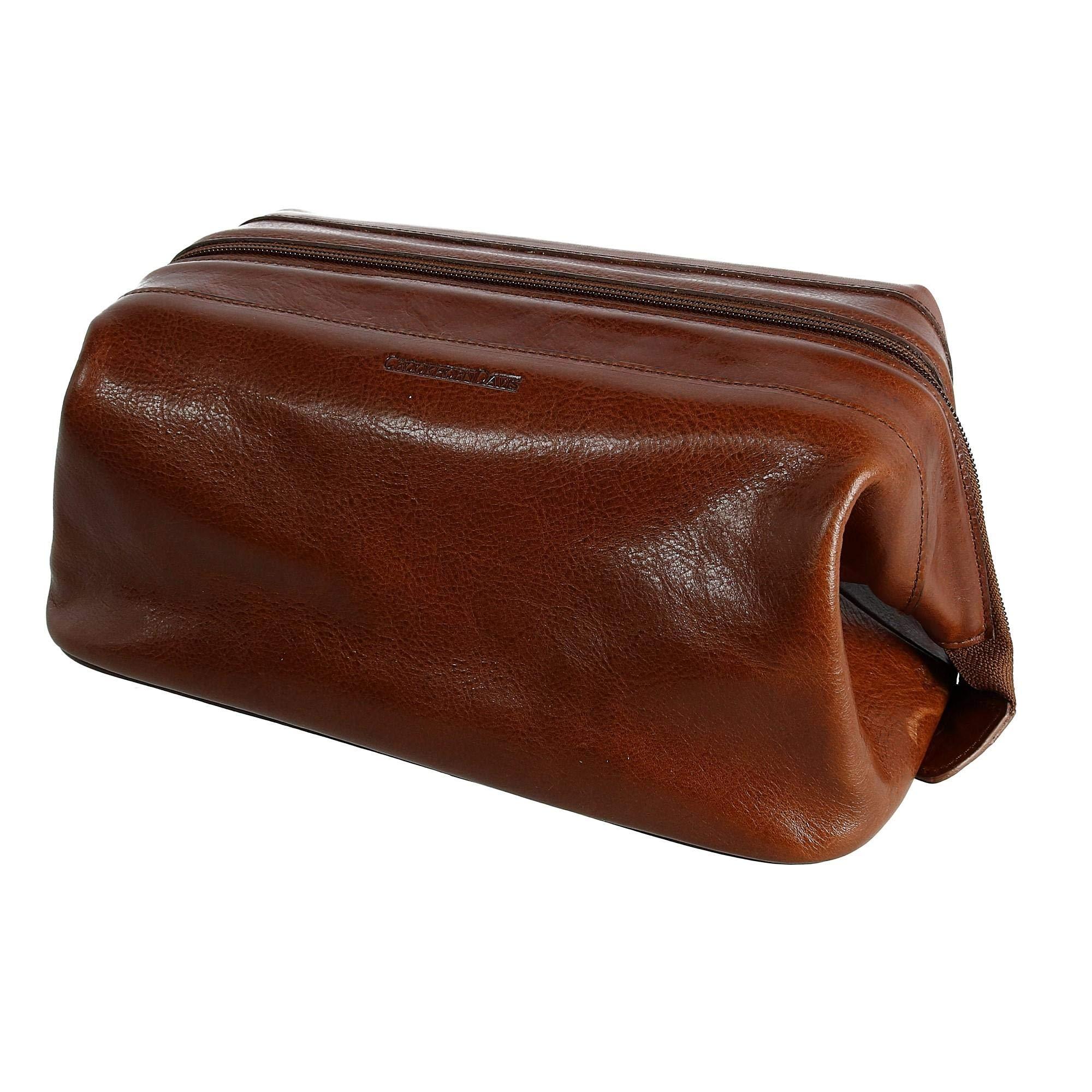 CrookhornDavis Men's Toiletry Bag, Travel Zipper Pouch, Leather Dopp Kit, Brown