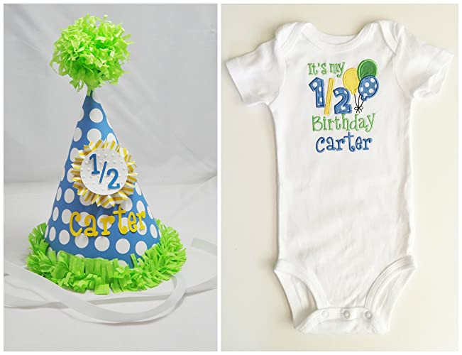 2d818f0a1d55e Amazon.com  Baby Boy 1 2 Birthday Party Hat and Bodysuit Set ...