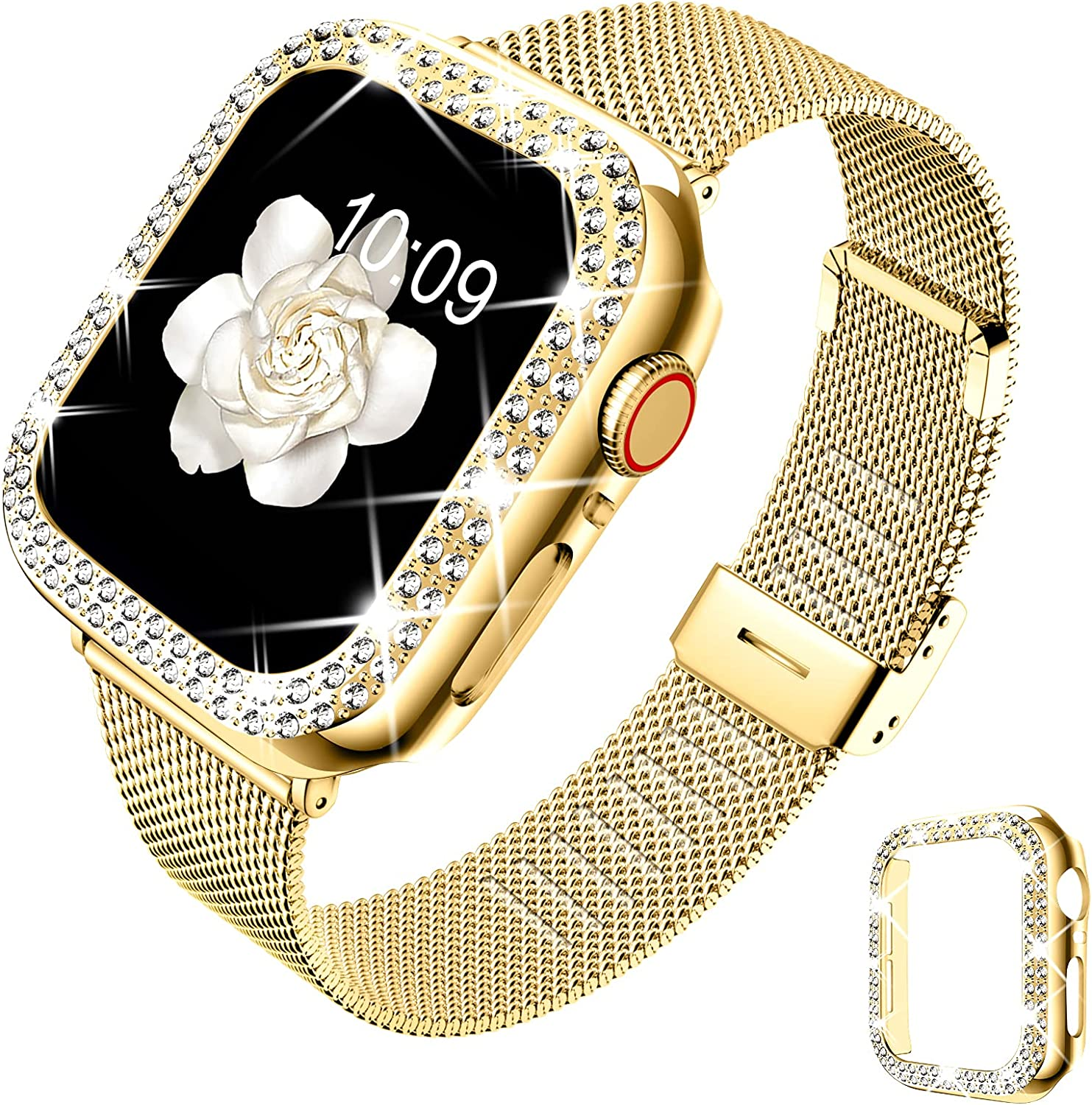 DABAOZA Compatible for Apple Watch Band 40mm 44mm with Case, Women Girls Stainless Steel Mesh Loop Strap Thin Silm Metal Replacement Wristband with Bling Cover for iWatch SE Series 6 5 4