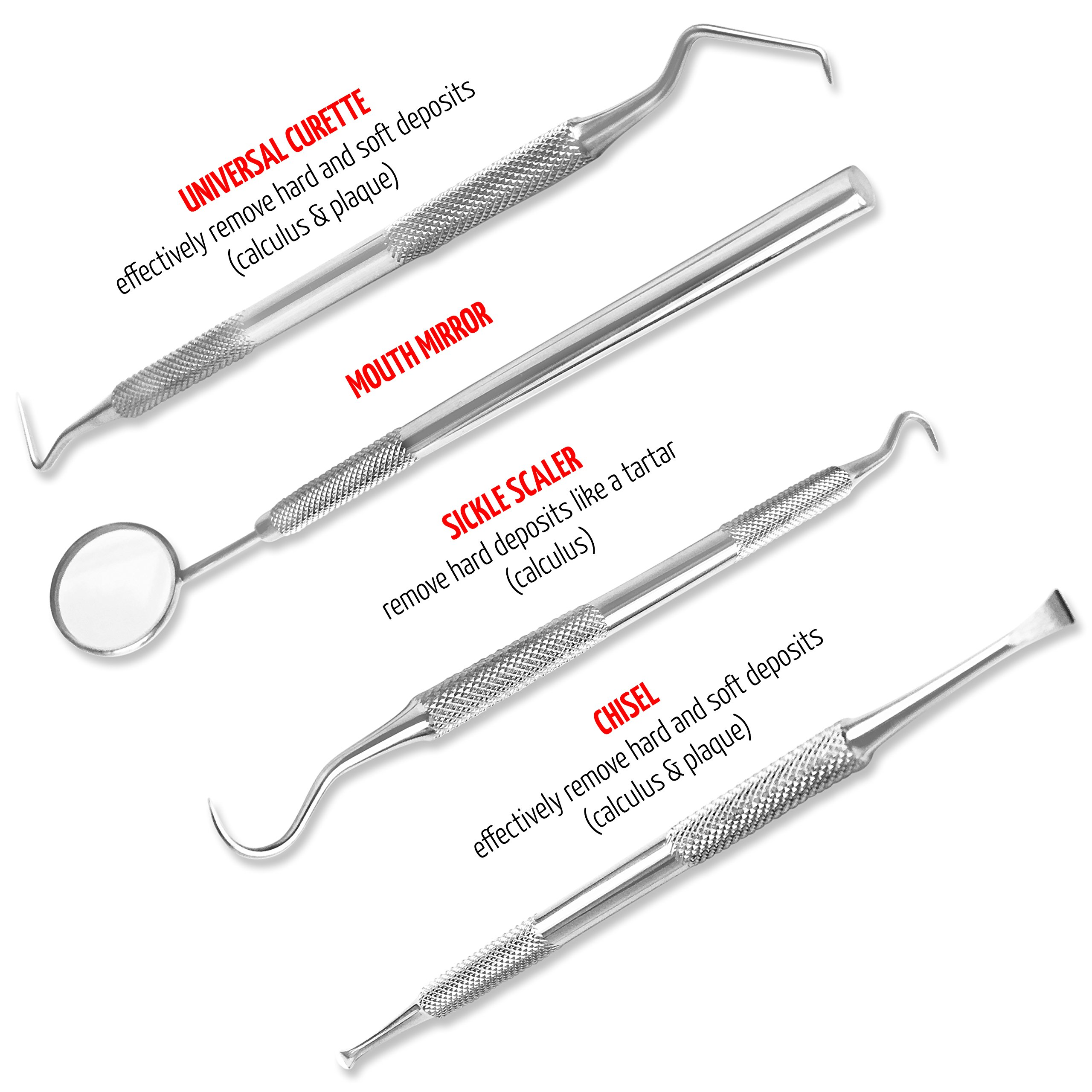 Essential Dental Hygiene Kit 3 Pcs By Marks Gouger Personal Tarter Scraper - Scaling Instrument, Toothpick & Oral Mouth Mirror Effective Way to Maintain Your Oral Hygiene Between Dental Visits