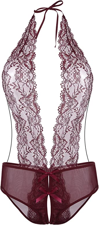 ELOVER Teddy Lingerie for Women Deep V Halter One Piece Babydoll Lace Bodysuit Romper