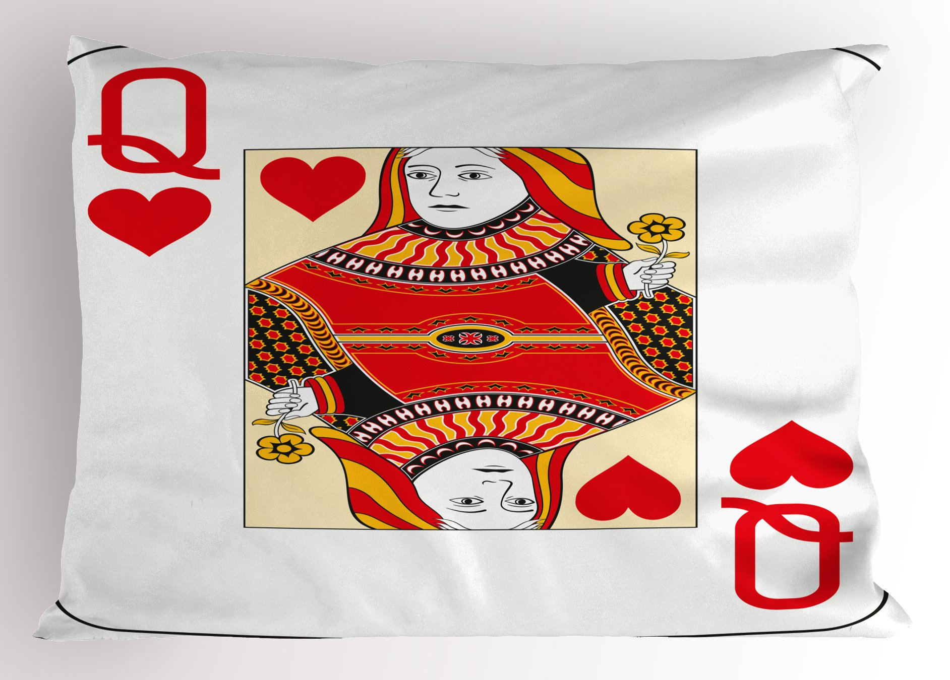 Ambesonne Queen Pillow Sham, Queen of Hearts Playing Card Casino Design Gambling Game Poker Blackjack, Decorative Standard Size Printed Pillowcase, 26 X 20 inches, Vermilion Yellow White