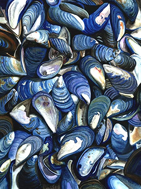 Amazon Com Buyartforless Blue Mussels By Damon Crook 24x18 Nautical Coastal Graphic Print Canvas Wall Art Décor Multicolored Posters Prints