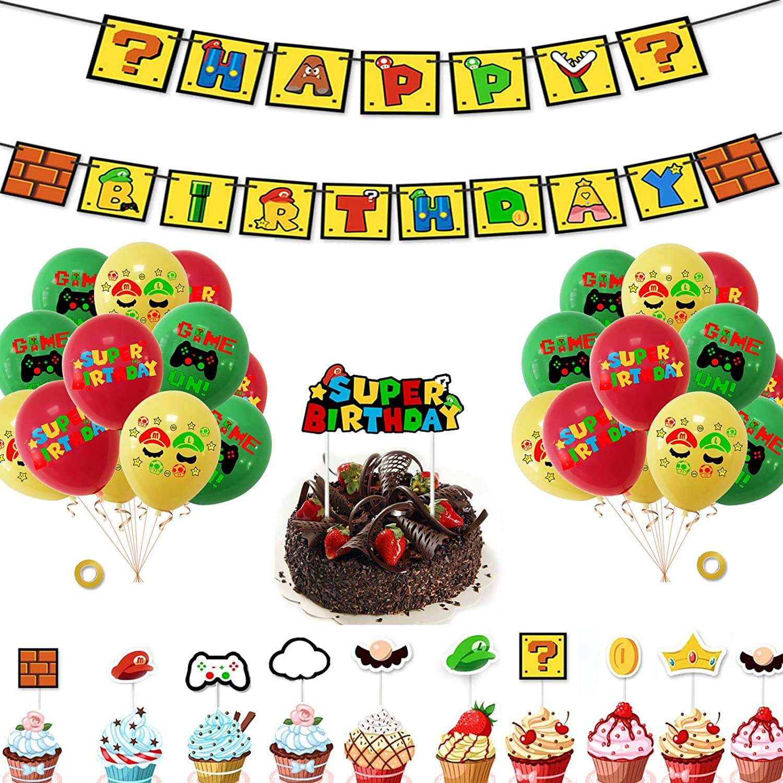 Mario Party Balloons for Kids Birthday Baby Shower Mario Theme Birthday Party Mario Birthday Party Supplies 35PCS Super Mario Party Decorations Including Mario Birthday Banner Mario Cake Topper