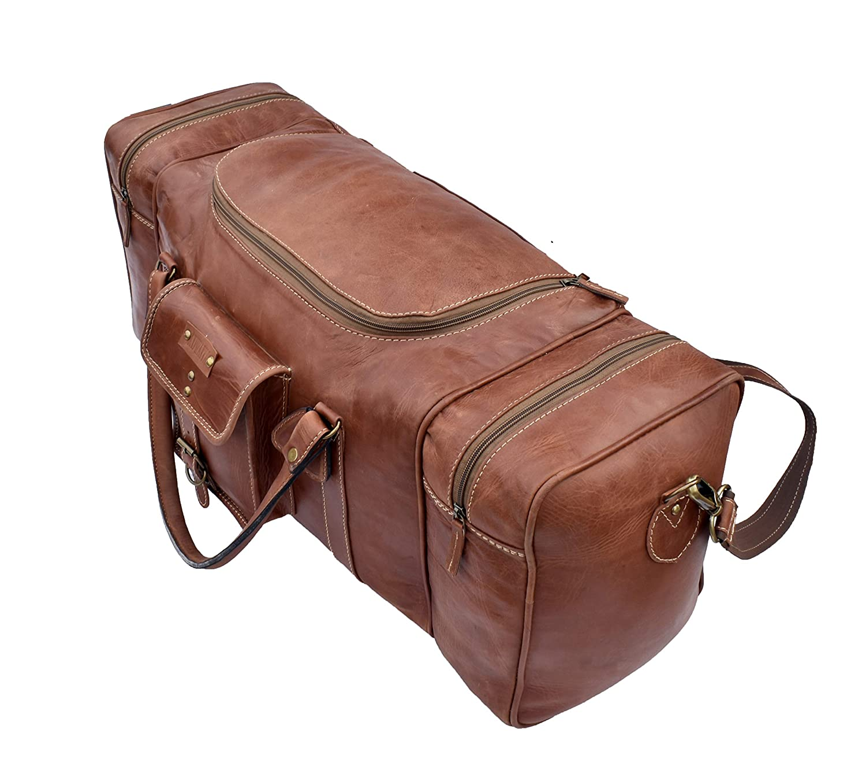 Adwaita 28 inch genuine leather Square Duffel Travel Gym Sports Overnight Weekend Bag