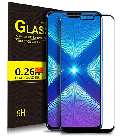 Kugi Honor 8X Protector de Pantalla, Honor 8X Full Coverage Cristal Vidrio Templado Film [