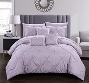 Chic Home Hannah 10 Piece Comforter Complete Bag Pinch Pleated Ruffled Pintuck Bedding with Sheet Set and Decorative Pillows Shams Included, King, Lavender