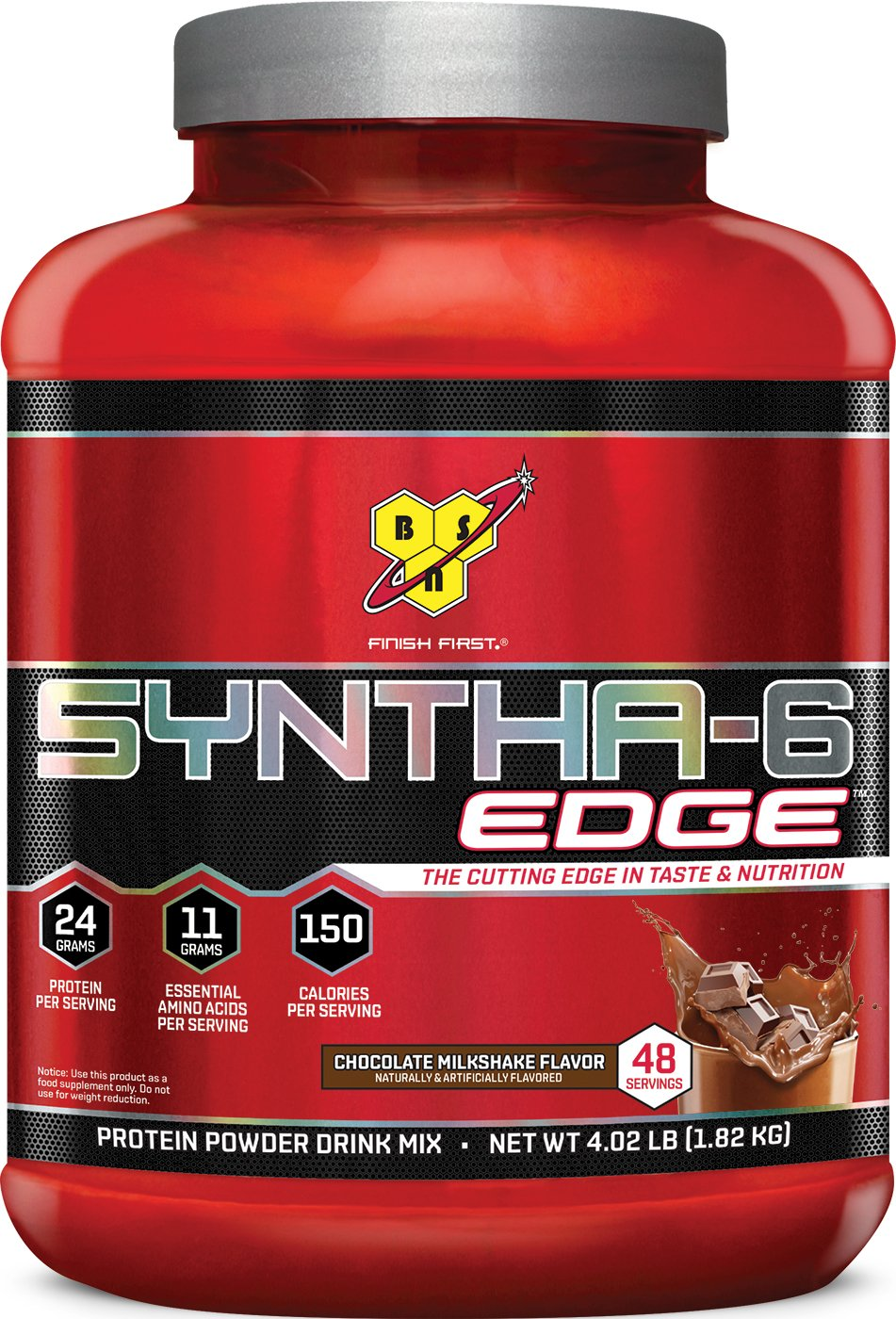 BSN SYNTHA-6 EDGE Whey Protein Powder, Hydrolyzed Whey, Micellar Casein, Milk Protein Isolate Meal Replacement Powder, Chocolate Milkshake, 48 Servings