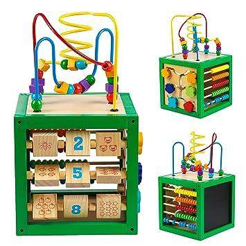 Motorik Spiel Würfel XL mit Motorikschleife Holz Lern Spielzeug Kinder Activity Holzspielzeug