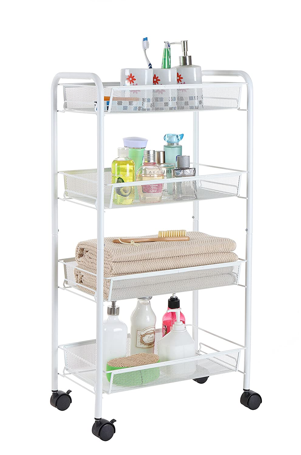 Finnhomy 4 Tier Metal Mesh Shelf Multi Purpose Rolling Utility Storage Cart with 3 Baskets, Laundry Cart, Space Saver, Perfect for Home Accessories, Laundry, Kitchen and Office Suppliers