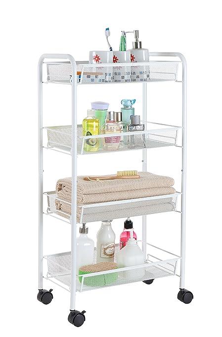 finnhomy 4 Tier estante de malla de Metal Multi Propósito Utilidad Rolling carrito de almacenamiento con ...