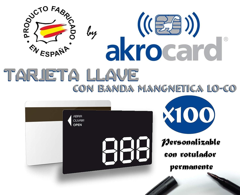 Pack 100 Tarjetas PVC Llave con Banda magnética LO-CO (Baja ...