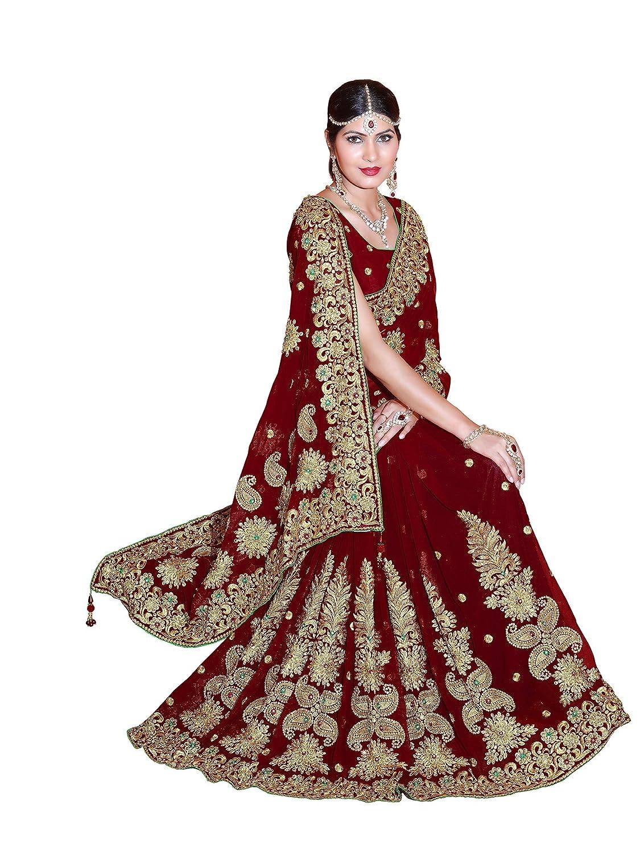 MirchiFashion Damen Designer Stickerei Arbeit Sari mit Ungesteckt Oberteil/Top Hochzeits Braut saree