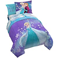 Jay Franco Frozen Magical Winter 5 Piece Twin Bed Set-(Offical Disney Product)
