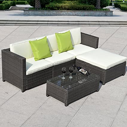 TANGKULA 5PC Outdoor Patio Sofa Set Sectional Furniture PE Wicker Rattan  Deck Couch (Black)