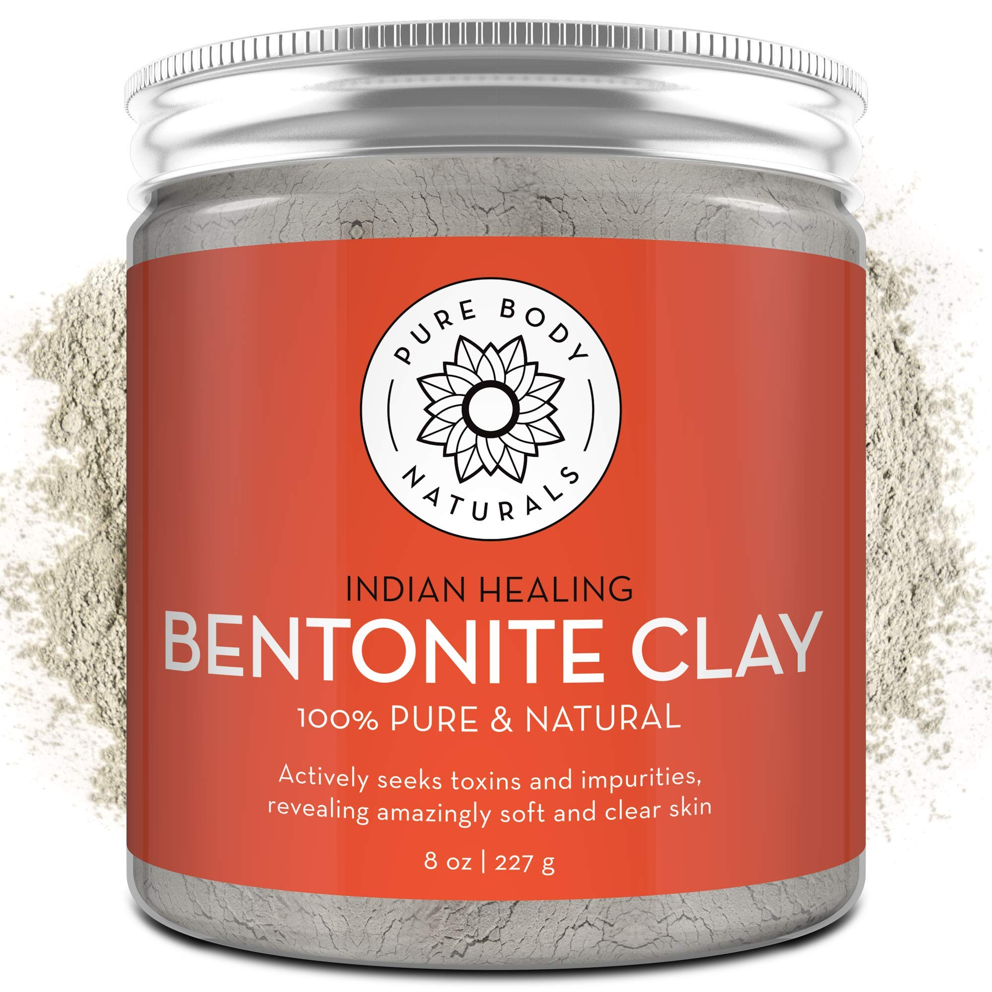 Pure Bentonite Powder for DIY Detox Bath & Facial Mask, Pure Indian Healing Clay for Burns, Mastitis, Inflamed or Chapped Skin (8.0 oz) - Pure Body Naturals