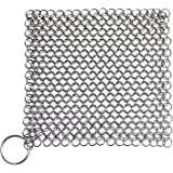 Blisstime Cast Iron Cleaner 15x15 Centimeter Premium Stainless Steel Chainmail Scrubber