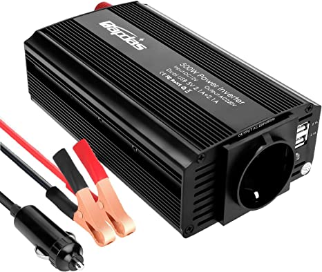 Bapdas 300W Power Inverter da Auto DC 12V a 220-240V AC 2 Porte USB 4.2A