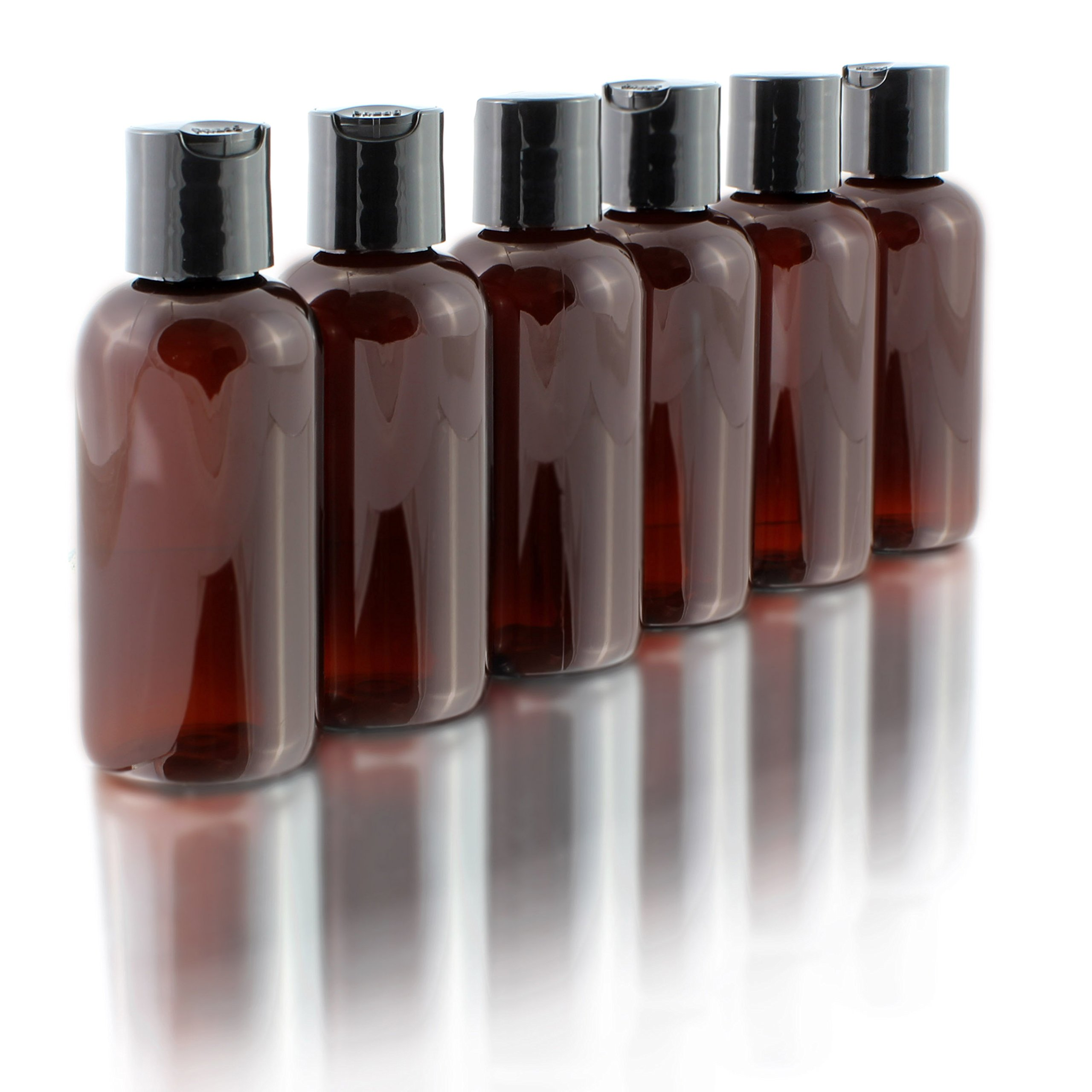 4oz Empty Amber Brown Plastic Squeeze Bottles with Disc Top Flip Cap (6 pack); BPA-Free Containers For Shampoo, Lotions, Liquid Body Soap, Creams (4 ounce, Amber Brown)