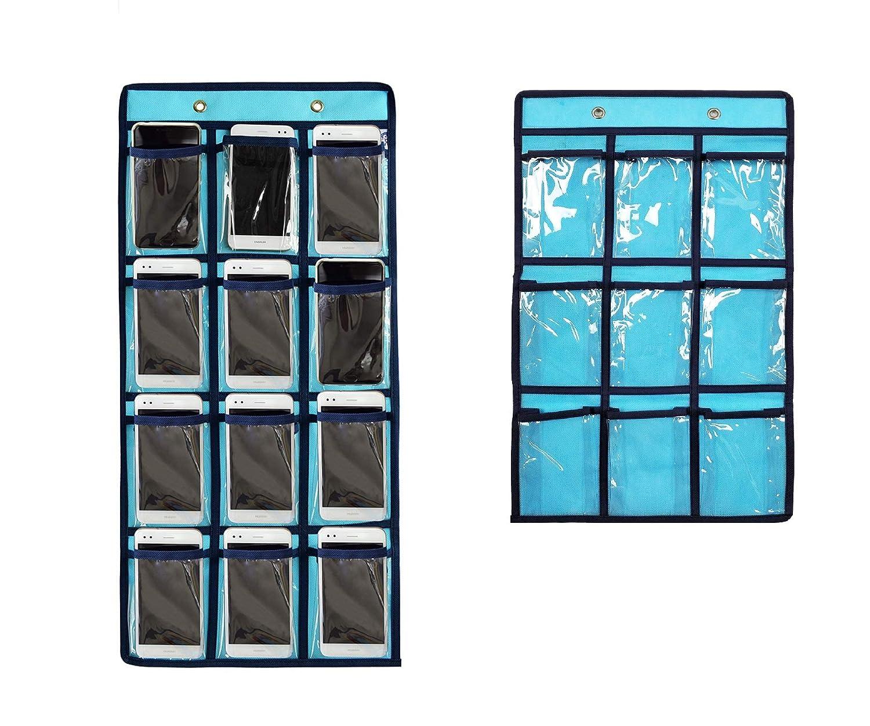 NIMES Hanging Closet Underwear Sock Storage Over The Door Jewelry Organizer 36 Clear Pockets (BEIGE)