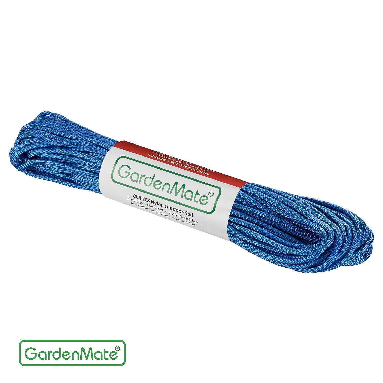 Negro GardenMate/® Cuerda de Nailon Profesional para Exteriores I 31 m Largo 4 mm Grosor I Paracord 550 I Cuerda Envolvente del n/úcleo con 7 Hilos de n/úcleo de Nailon Resistente al desgarro